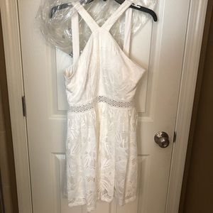 White semi formal dress from boutique Francesca's